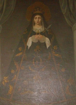 Pintura decimonónica de la Virgen que se encuentra en la Sacristía.