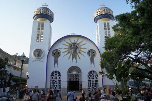Vista de la fachada de la catedral de Acapulco, México.