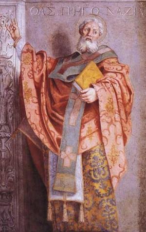 Detalle del Santo, obra de Domenichino, en la capilla de San Nilo, Grottaferrata, Italia.