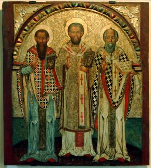 Icono de los tres Doctores Orientales: San Basilio Magno, San Juan Crisóstomo y San Gregorio Nacianceno (de dcha. a izqda.)