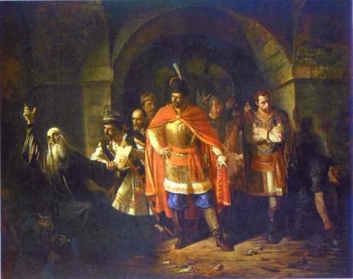 El Patriarca San Hermógenes se niega a firmar la escritura. Lienzo historicista de  Pavel Tchistyakov, año 1860.