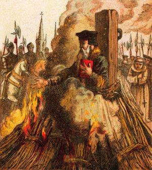 Grabado coloreado de la ejecución del arzobispo Cranmer.