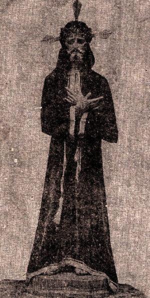 Antigua fotografía que muestra como se veía el Señor de Tabasco a su llegada a Villahermosa.